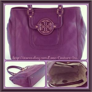 TORY BURCH Amanda Tote Tribe Violet Leather Bag