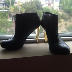 Tory Burch Black Booties with Gold Heel