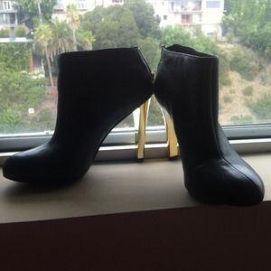 Tory Burch Black Booties with Gold Heel