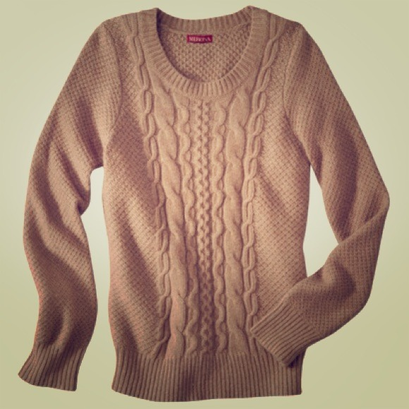 Chunky Camel Cable-Knit Sweater L from Caroline's closet on Poshmark