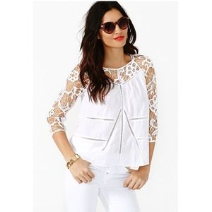 ✨ NASTYGAL adorable white free love top NWT