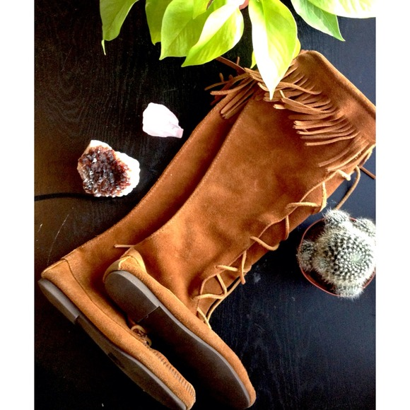 Sold Knee High Moccasins Tan Lace