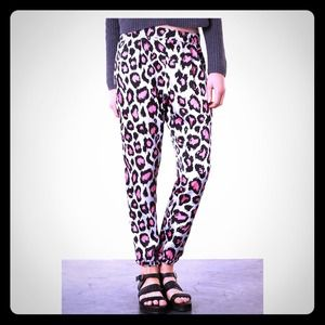 Animal print trousers joggers by Topshop sz 8