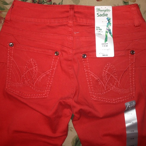 45% off Wrangler Denim - Wrangler jeans in bright red with bling ...