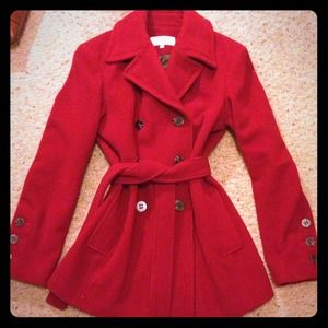 NWOT Calvin Klein GORGEOUS dark red wool coat