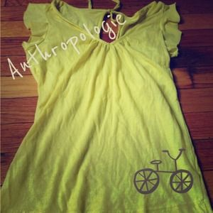 Anthropologie Little Yellow Button Neon Yellow Top