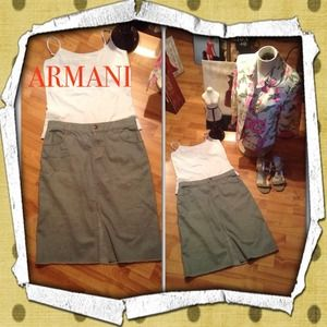 SALESZ 6 ARMANI EXCHANGE GREEN/GRAY PENCIL SKIRT