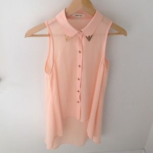 English Rose Tops - Peach chiffon hi-low top! Brand new!