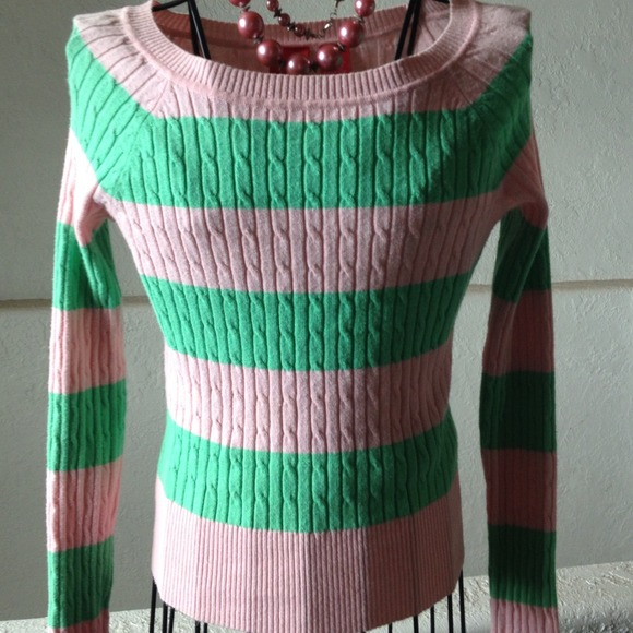 Pink and Green Striped Sweater S from Chris's closet on Poshmark
