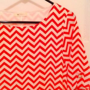 Everley Dresses & Skirts - Super cute tangerine & white chevron stripe dress