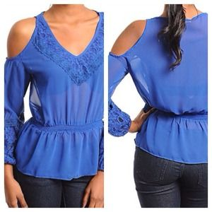 Royal blue cutout shoulder top with lace detail