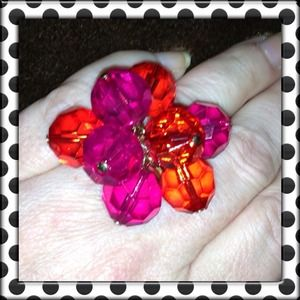 """♠Kate Spade """"Faceted Pink & Red Cluster"""" Ring♠"""