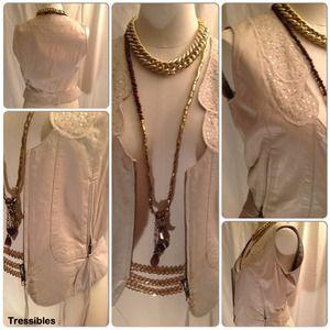June Jackets & Blazers - Cream Leather Vest