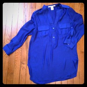 3/4 royal blue blouse