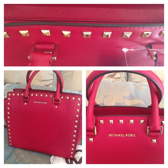 12% off Michael Kors Handbags - Michael Kors large red studded ...