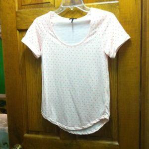 Pink shirt with coral polka dots