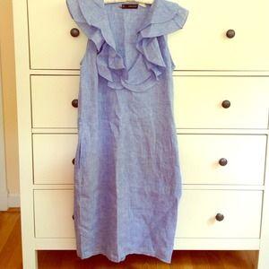 Ruffled linen blue dress