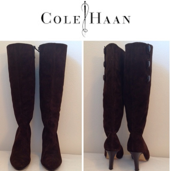 94% off Cole Haan Shoes - 👢COLE HAAN Brown Suede Nike Air Knee ...