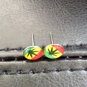 ⭕️LAST ONE!  Tiny Colorful Ganja & Jamaica Studs
