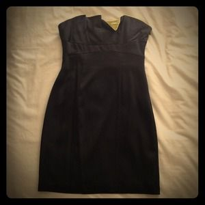 BCBG Black Satin Dress with Lime Accent
