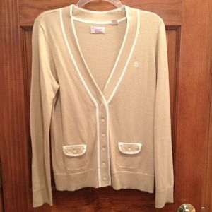 VINTAGE beige cardigan with white trim