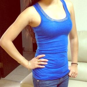 Tops - Royal blue tank with rhinestone collar