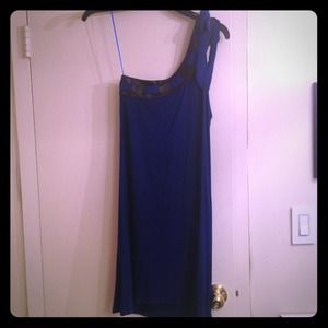 Akiko Dresses & Skirts - SALE! Blue one shoulder dress with leather trim