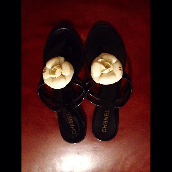 4169d7024572c3 Chanel Crème Camellia Flip Flop Thong Flat Sandals