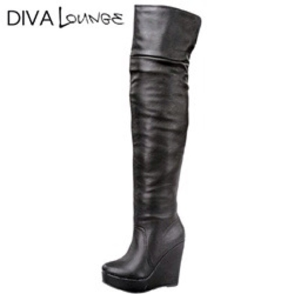 49% off Diva Lounge Boots - ‼️SALE‼️Diva Lounge Thigh High Wedge ...