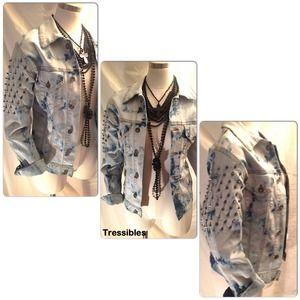 Mono B Denim - Mono B Acid Wash Studded Denim Jacket