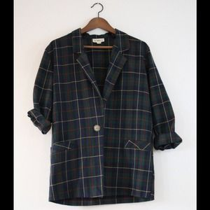 Diamonds Plaid Blazer- Vintage