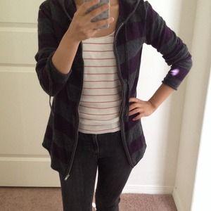Jackets & Blazers - 📛REDUCED Purple/gray striped zip up hoodie