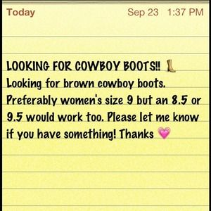 Shoes - LOOKING FOR COWBOY BOOTS- Size women's 9