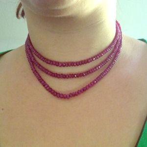Three strand ruby necklace