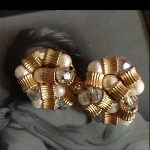 Pearl, Crystal and gold Tone Pierced Earrings