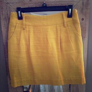 Cute Mustard Yellow Linen Pencil Mini Skirt