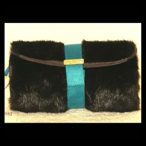 Super cute faux fur cosmetic bag in deep chocolate
