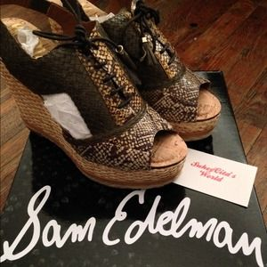 Sam Edelman Open Toe Lace-Up Wedge