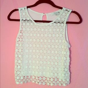 Knit lace white tank