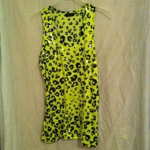 Sequined Neon Yellow Racer-back tank-top