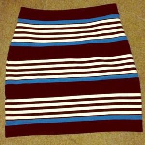 Black, white, and teal skirt from express.