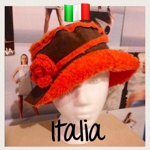 Lorenzo of Italia Accessories - 🇮🇹Brown Italian suede hat w/orange flower detail