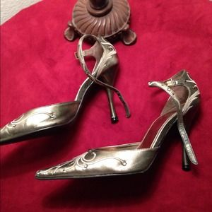 Shoes - Pewter Pumps ankle strap