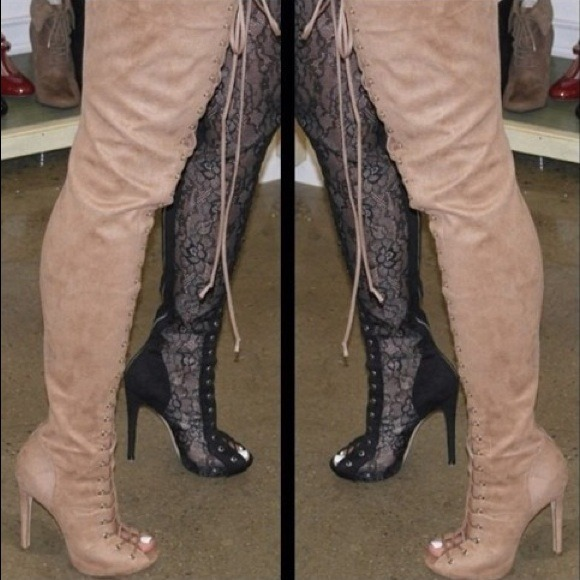 58 boots piarry lace up thigh high boots from