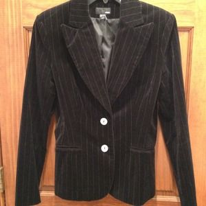 H&M pinstripe velour blazer with pearl buttons