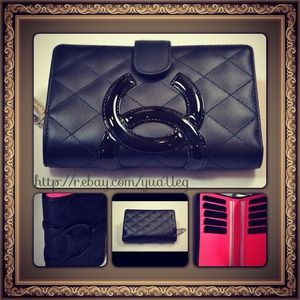 CHANEL Cambon Black Quilted Wallet A50080 Purse