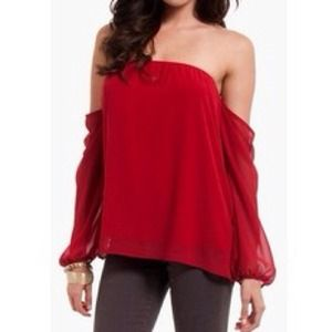 Oxblood off the shoulder top