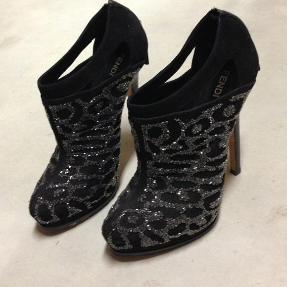 e206ecc372e2 NEW Authentic Fendi black sequin bootie size 7