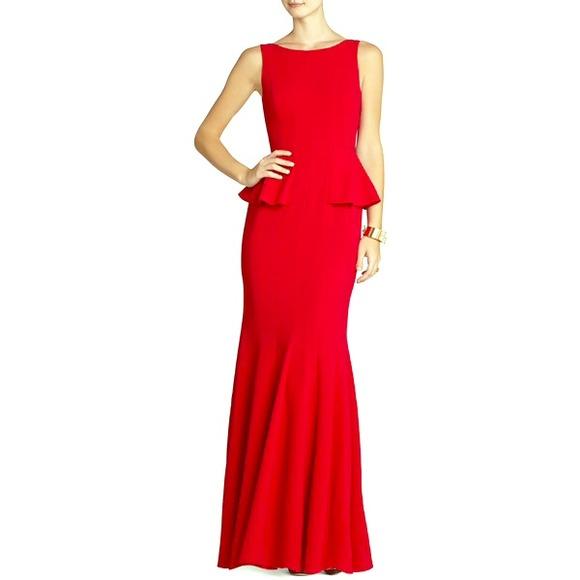 BCBGMaxAzria Dresses | Francesca Red Peplum Gown | Poshmark