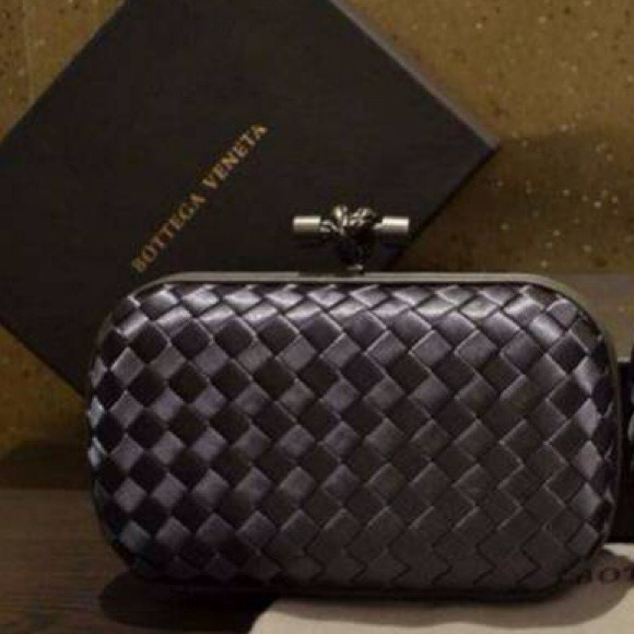 8190eb0232 NEW Bottega Veneta Satin Knot Clutch Black or Grey